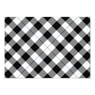 "Black and white checked background 5"" x 7"" invitation card"