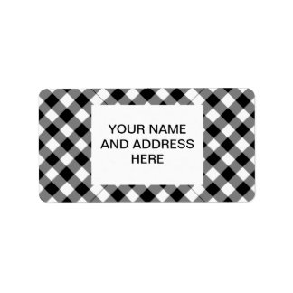 Black and white checked background custom address labels