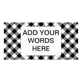Black and white checked background picture card