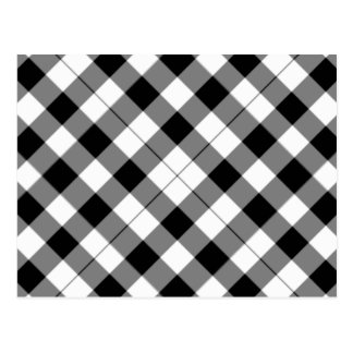 Black and white checked background post card