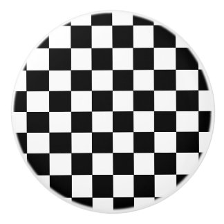 Black and White Checked Flag Style Ceramic Knob