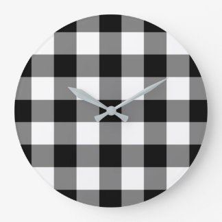 Black And White Checked Gingham Pattern Large Clock