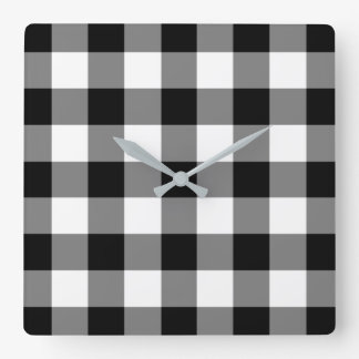 Black And White Checked Gingham Pattern Square Wall Clock