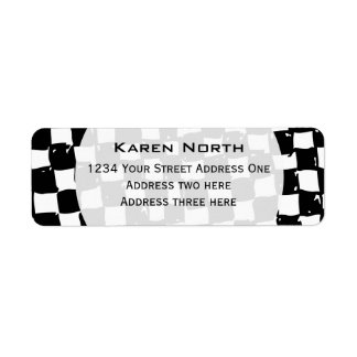 Black and White Checker abstract Return Address Label
