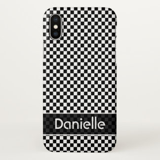 Black and White Checker Custom iPhone X Case