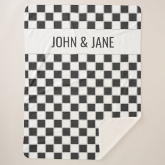 Black and White Checker Custom Sherpa Blanket