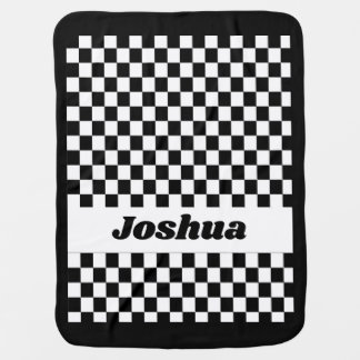 Black and White Checker Flag Baby Blanket