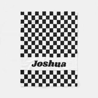 Black and White Checker Flag Fleece Blanket