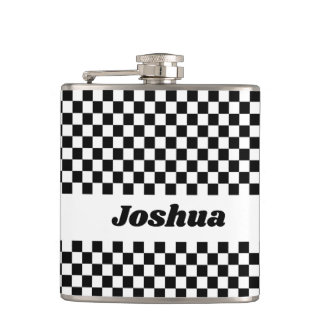 Black and White Checker Flag Hip Flask
