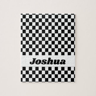 Black and White Checker Flag Jigsaw Puzzle