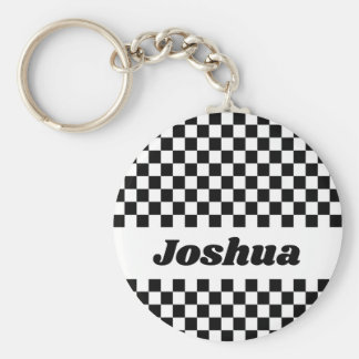 Black and White Checker Flag Keychain