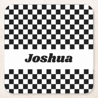 Black and White Checker Flag Square Paper Coaster