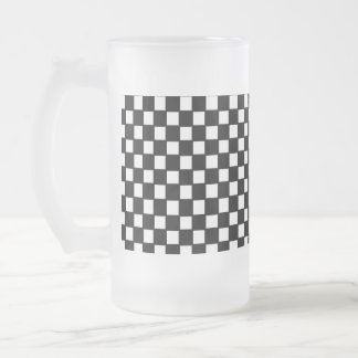 black and white checker frosted glass mug