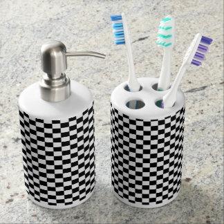 Black and white checker pattern bathroom set