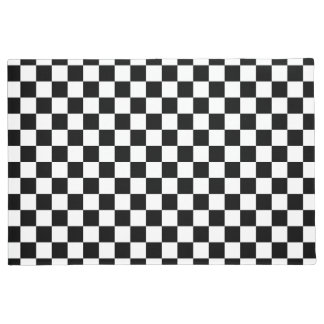 Black and white checker pattern doormat