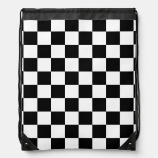 black and white checker pattern drawstring bag