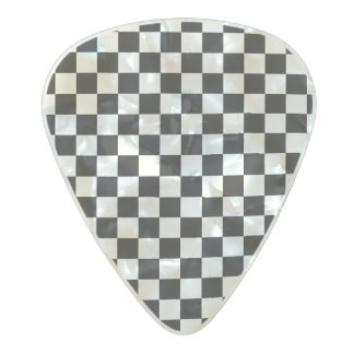 Black and White checker pattern Pearl Celluloid Guitar Pick