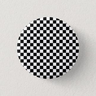 Black and White Checkerboard 1 Inch Round Button
