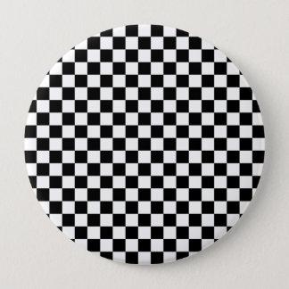 Black and White Checkerboard 4 Inch Round Button