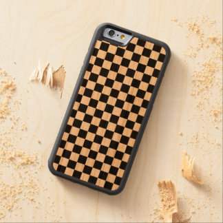 Black and White Checkerboard Carved Cherry iPhone 6 Bumper Case