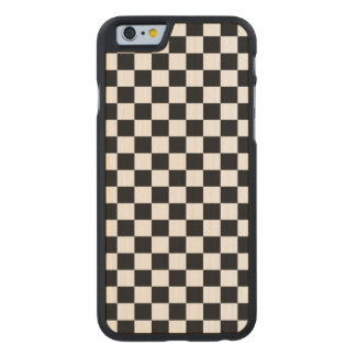 Black and White Checkerboard Carved Maple iPhone 6 Case