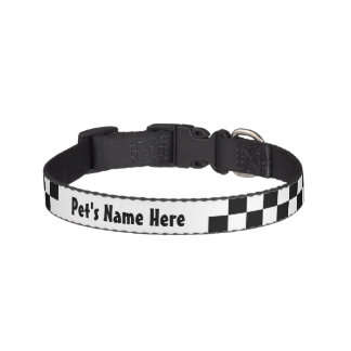Black and White Checkerboard Checkered Flag Pet Collar