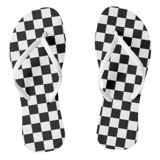 Black and White Checkerboard Flip Flops
