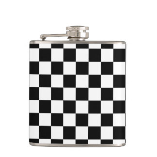 Black and White Checkerboard Hip Flask