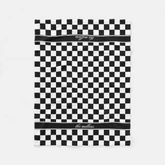 Black and White Checkerboard ID148 Fleece Blanket