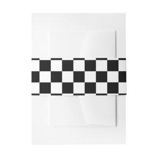Black and White Checkerboard Invitation Belly Band