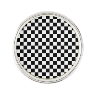 Black and White Checkerboard Lapel Pin