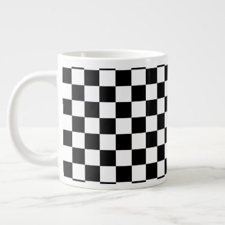 Black and White Checkerboard Large Coffee Mug