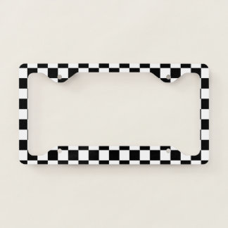 Black and White Checkerboard License Plate Frame