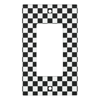Black and White Checkerboard Light Switch Cover