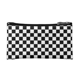 Black and White Checkerboard Makeup Bag