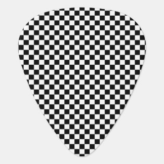 Black and White Checkerboard Pattern Guitar Pick