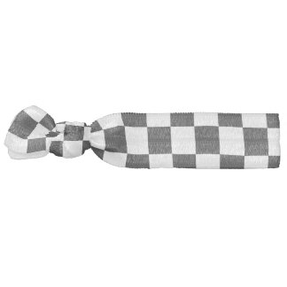 Black and White Checkerboard Pattern Hair Tie