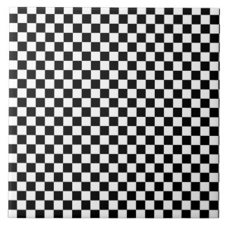 Black and White Checkerboard Pattern Tile