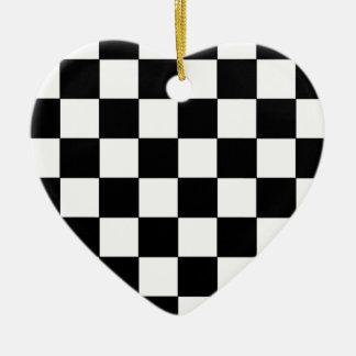 Black and White Checkerboard Retro Hipster Ceramic Heart Ornament