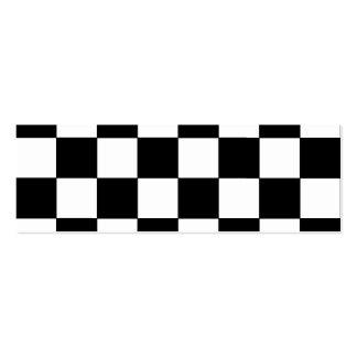 Black and White Checkerboard Retro Hipster Mini Business Card