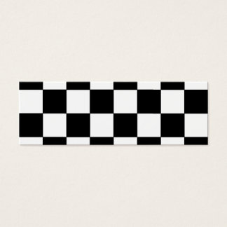 Black and White Checkerboard Retro Hipster Mini Business Card
