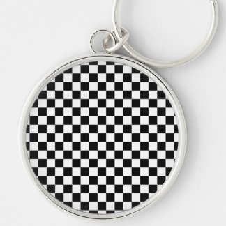 Black and White Checkerboard Silver-Colored Round Keychain
