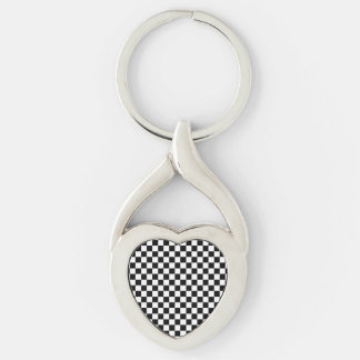 Black and White Checkerboard Silver-Colored Twisted Heart Keychain