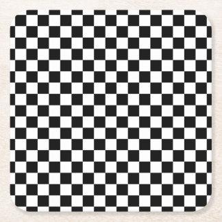 Black and White Checkerboard Square Paper Coaster