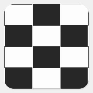 Black and White checkerboard Square Sticker