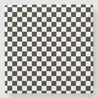 Black and White Checkerboard Stone Coaster