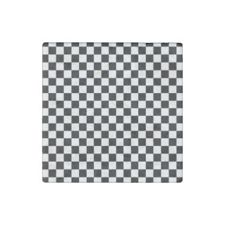 Black and White Checkerboard Stone Magnets