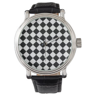 Black and White Checkerboard Vintage Watch
