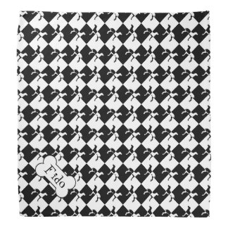 Black and White Checkerboard Weimaraner Bandana