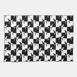 Black and White Checkerboard Weimaraner Kitchen Towel